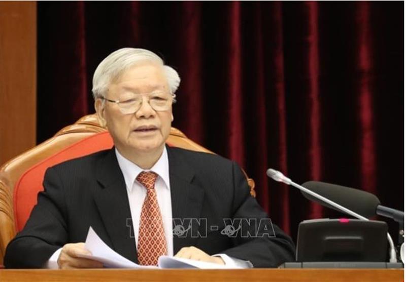 Tổng Bí thư, Chủ tịch nước Nguyễn Phú Trọng chủ trì và phát biểu khai mạc Hội nghị. Ảnh: Trí Dũng/TTXVN