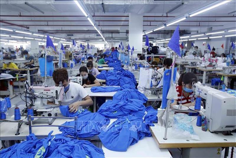 Sản xuất sản phẩm may mặc tại Công ty Cổ phần may và dịch vụ Hưng Long (Mỹ Hào, Hưng Yên). Ảnh: Phạm Kiên/TTXVN