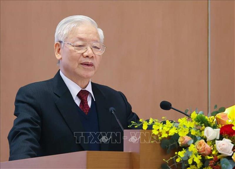 Tổng Bí thư, Chủ tịch nước Nguyễn Phú Trọng phát biểu. Ảnh: Thống Nhất/TTXVN